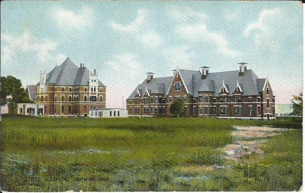 Postcard showing the architecture of Norwich State Hospital, circa 1909