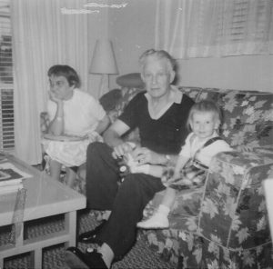 Grandma and Grandpa Tillotson, with Julianne, in1957 (before they remarried).