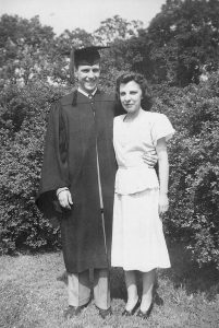 Dad, in his graduation cap and gown, with Mom, June 1948