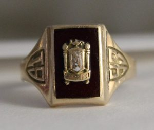 1943 class ring, Norwich Free Academy, photo by Bob Cantor