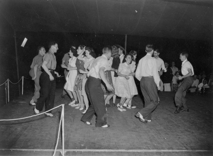 Soco Gap Junior Square Dance Team dancing at the Mountain Music Festival, Asheville, North Carolina. [between 1938 and 1950] from Library of Congress, LC-DIG-ppmsc-00460