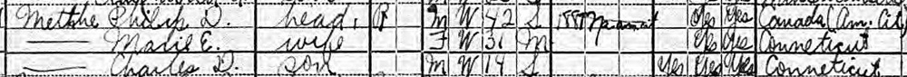 Philip D. Metthe and family, U.S. Census of Population. Year: 1920