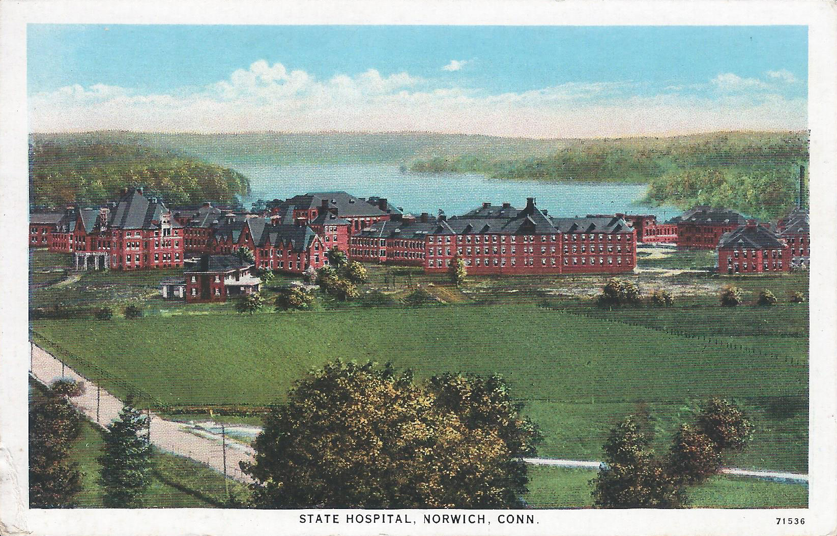 Postcard, Norwich State Hospital, ca. 1936