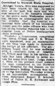 """Committed to Norwich State Hospital,"" Norwich Bulletin, Friday, July 12, 1912. p. 2. (researching your mentally ill ancestor)"