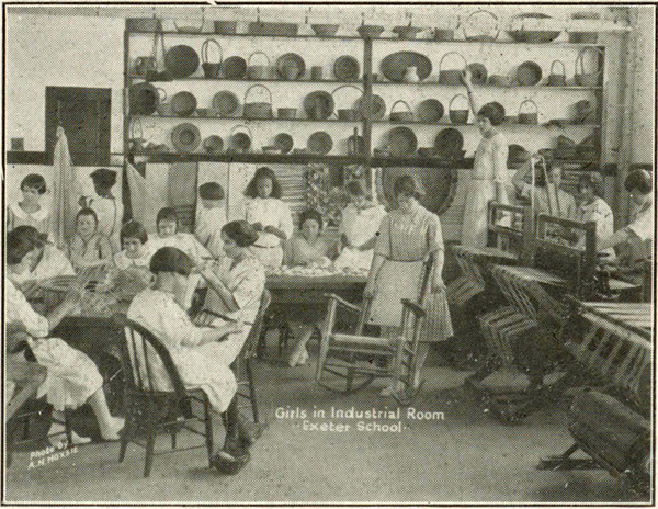 Girls in Industrial Room, Exeter School. Rhode Island, Exeter School, Slocum. The Exeter School, Slocum, Rhode Island. Howard, R. I.: R. I. S. P. Printing Department, ca. 1924.