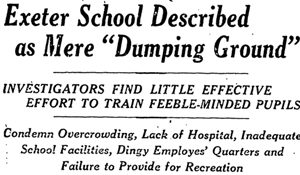 """Exeter School Described as Mere 'Dumping Ground,'"" Providence Journal, December 30, 1928, pg. 6."