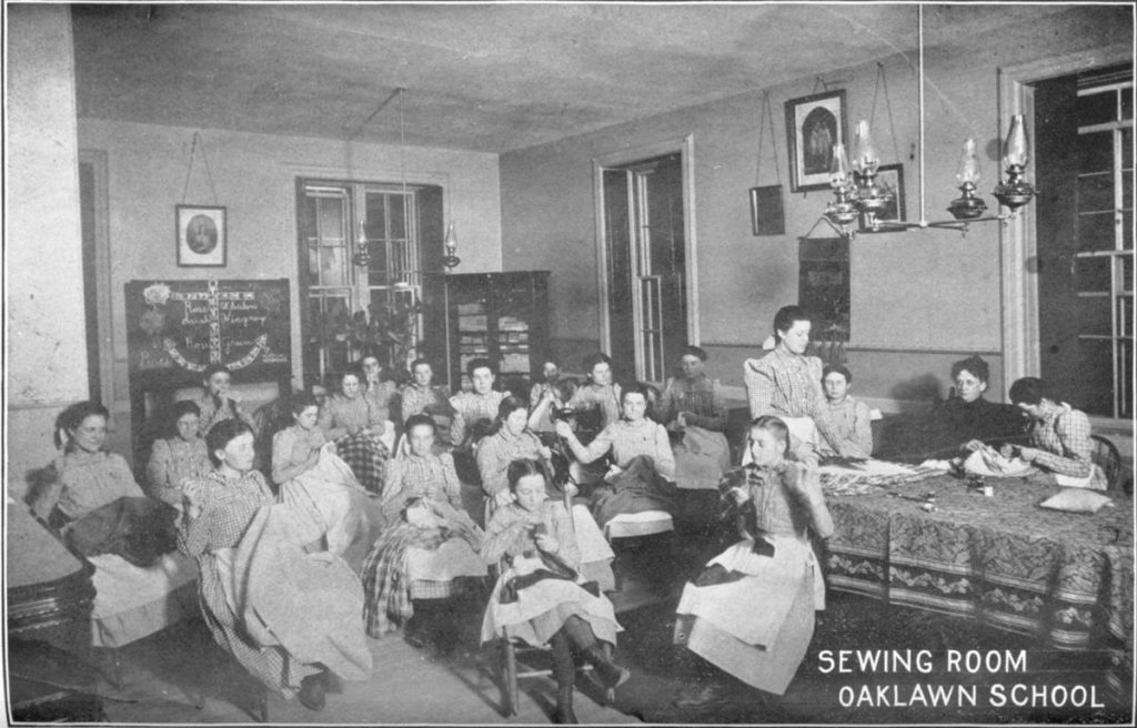 Sewing Room at the Oaklawn School for Girls, ca. 1901. Board of State Charities and Corrections. Annual Report, 1901. Rhode Island State Archives. https://catalog.sos.ri.gov/repositories/2/digital_objects/378 Accessed May 10, 2019.