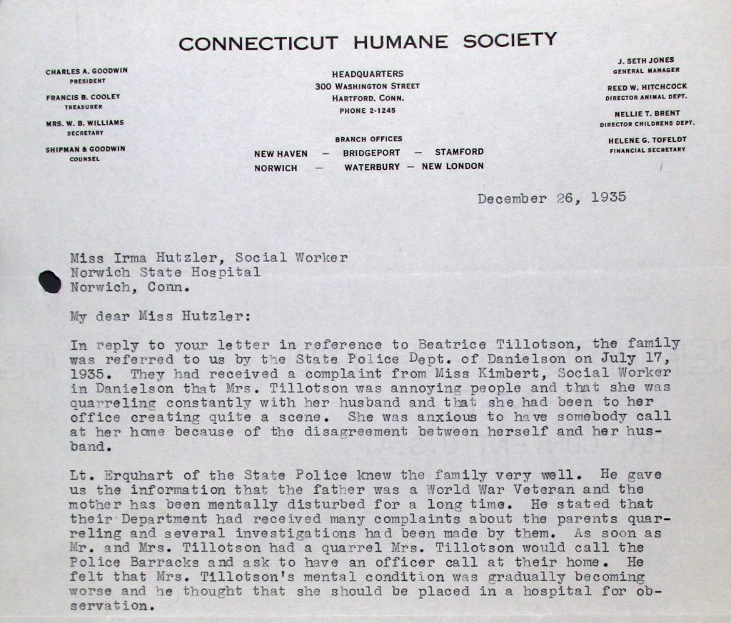 Letter from the Children's Division of the Connecticut Humane Society, dated December 26, 1935, regarding the Tillotson family.