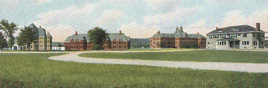 Postcard detail, Norwich State Hospital, ca. 1909.