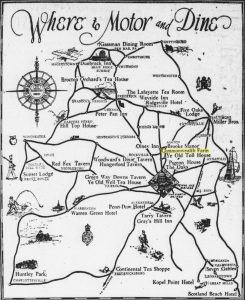 """""""Where to Motor and Dine,"""" Evening Star, July 14, 1929, p. 6."""