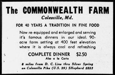 Advertisement for Commonwealth Farm Inn, Evening Star, June 30, 1946.